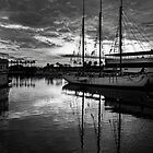 Tall ship at anchor by Celeste Mookherjee