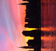 New York City Skyline in Pink Sunset by Diana Beato