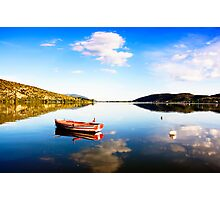 Boat in Kastoria lake (Makedonia, Greece) Photographic Print