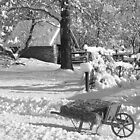 Winter Wheelbarrow B&W by purplefoxphoto