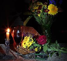 Flowers still life with  wine (shadow background) by FrankSchmidt