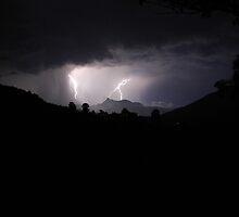 Wollumbin (Mt Warning) Lightning Strike by peteredbubble