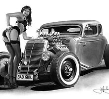 BADGIRL 34 drawing by John Harding