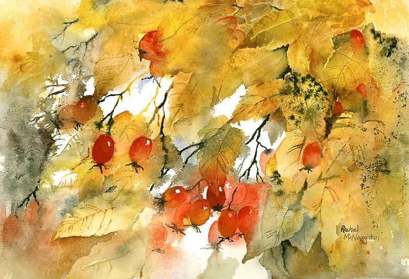 u0026quot autumn leaves and berries u0026quot  by artbyrachel