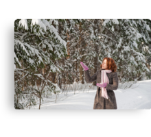 Woman in forest Canvas Print