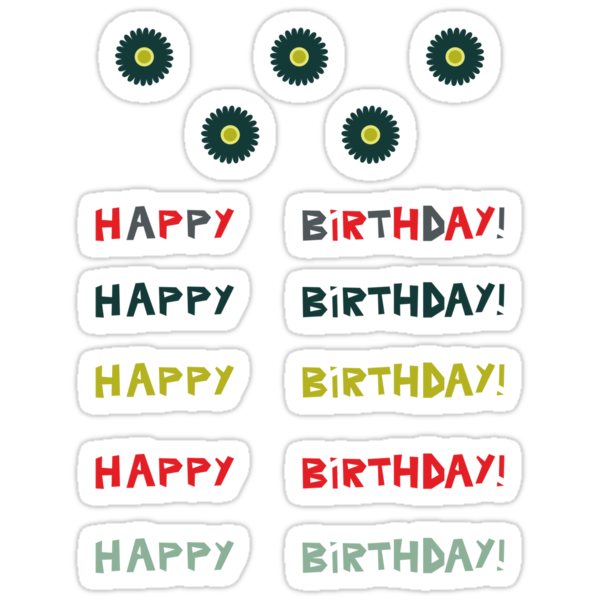 Happy birthday stickers by Anastasiia Kucherenko