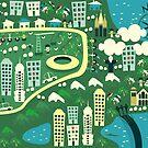 cartoon map of rio de janeiro by Anastasiia Kucherenko
