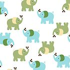 Green and Blue Cute Elephants by JessDesigns