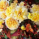 Yellow Roses with Laurel Cherry #3 by Suzanne Lewis