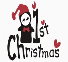 My 1st Christmas txt penguin vector art  by cheeckymonkey
