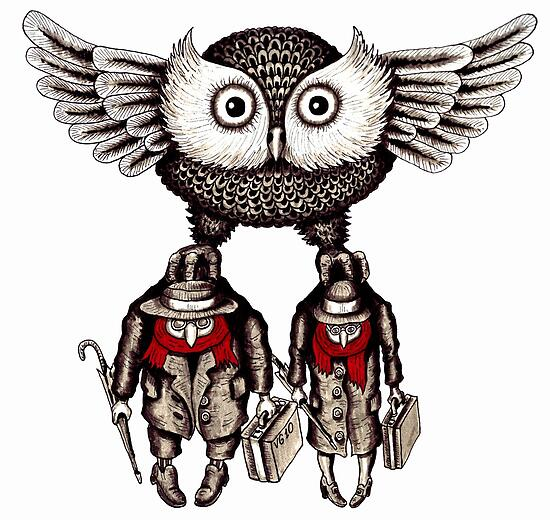 Travel by Owl surreal black and white pen ink drawing by Vitaliy Gonikman