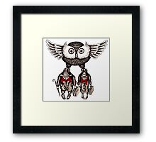 Travel by Owl surreal black and white pen ink drawing Framed Print