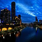 YARRA RIVER NIGHT PANORAMA MELBOURNE by Russell Charters