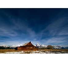 Full Moon Light & Stars Shining over Mormon Row Photographic Print