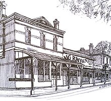 Buninyong: former Whykes Butchers, John Adam's store, National Bank building. by Elizabeth Moore Golding
