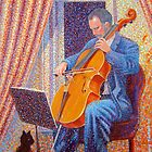 Man, cello, cat by Gregory Pastoll