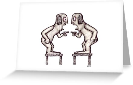 Argument surreal black and white pen ink drawing by Vitaliy Gonikman