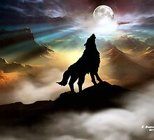 THE CANYON WOLF HOWLING AT THE FULL MOON by Elizabeth G. Fine Art