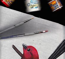 Scarlet Tanager Fabric Painting - Scanographic art... by Qnita