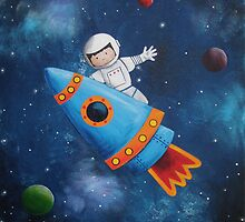 Space Man Acrylic Painting by Kristy Spring-Brown