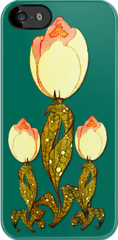 Art Deco Tulip iPhone4 Case by Greenbaby
