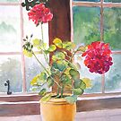 Watercolor, Geraniums at Gillthwaite Rigg, Windermere by Pat Yager