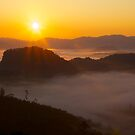 Sunrise over the Thai-Myanmar border by John Spies