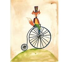 foxy on his penny farthing Photographic Print
