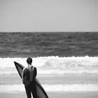 Surfer on Hollywell Bay Beach by TJHarper93