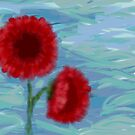 Red Poppies Against Blue Sky by Sarah Countiss