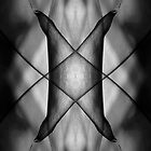 Mirror montage of a leaf in black and white by Celeste Mookherjee