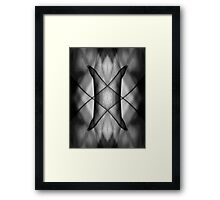 Mirror montage of a leaf in black and white Framed Print