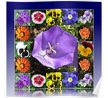Summers Gone By Floral Collage Poster