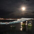Ayvalik moonshine over jetty by Christine Oakley
