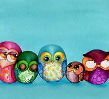 Fabric Owl Family by Annya Kai