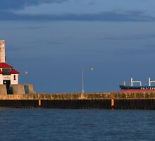 Coast Guard Lighthouse and Ship by Ljartdesigns