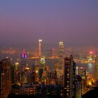 Hong Kong harbour at dusk by tazbert