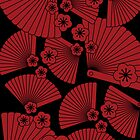 Red on black fans by Lisa Taliana