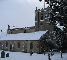 Snowy Lincolnshire Church  by Rachel Tyrrell