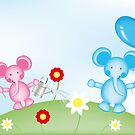 Happy elephants illustration for kids by schtroumpf2510