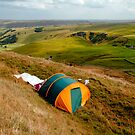 Tent Sited Near Summit of Mam Tor by Rod Johnson