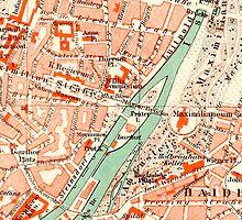 Munich Vintage Map iPhone Case by Mary Grekos