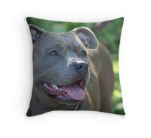 Blue pitbull Throw Pillow