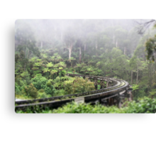 Waiting for Puffing Billy on a misty morning Metal Print