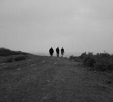 Three people walking,Black and White  by Eden Stanger