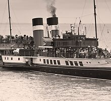 Waverley Paddle Steamer In Sepia by Steve Purnell