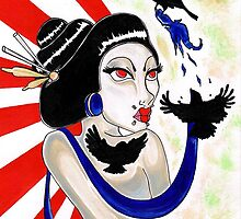 Raven Geisha  by grostique