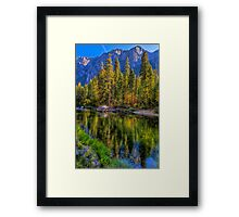Reflections on the Merced river, Yosemite National Park Framed Print