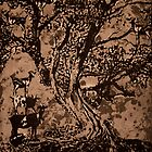 Goat Tree- intaglio print by Amanda Heigel