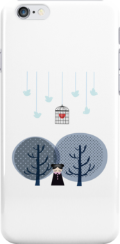 Vector Illustration in White on Iphone Case by Voila and Black Ribbon